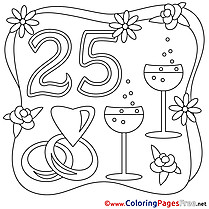 25 Years Wedding Coloring Page for free