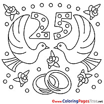 25 Years Wedding  download  Coloring Pages for Kids