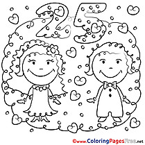25 Years Wedding free printable Coloring Sheets