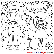 30 Years Wedding Coloring Sheets download for free