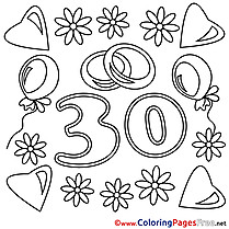 30 Years Wedding download Coloring Pages