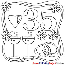 35 Years Wedding  Colouring Page for Children