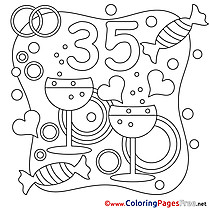 35 Years Wedding free printable  Coloring Sheets