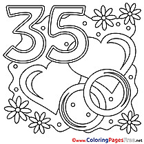 35 Years Wedding printable Colouring Page  for Free