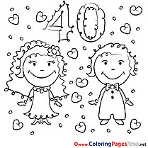 40 Years Wedding Colouring Sheet  download for free