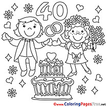 40 Years Wedding download Colouring Sheet