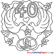 40 Years Wedding printable Colouring Page for Kids