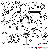 45 Years Wedding  Coloring Pages for Children