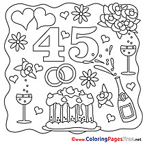 45 Years Wedding Colouring Page for free