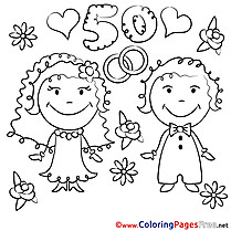 50 Years Wedding free Coloring Page for free