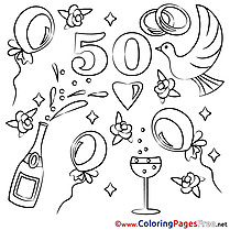 50 Years Wedding free Coloring Pages for Children