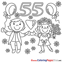 55 Years Wedding download Coloring Pages for Kids