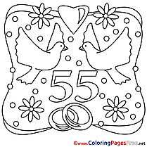 55 Years Wedding free printable  Coloring Sheets