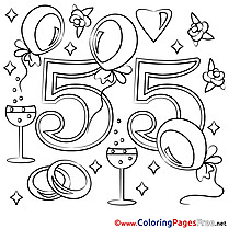 55 Years Wedding printable Coloring Sheets download