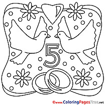 5 Years Wedding Colouring Sheet download free