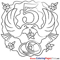 5 Years Wedding Pigeons printable Colouring Page for Kids