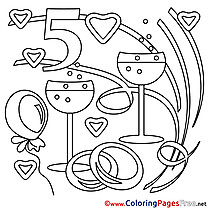 5 Years Wedding printable Coloring Sheets download