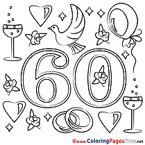 60 Years Wedding Coloring Pages for free