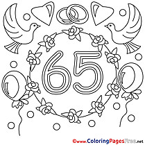65 Years Wedding  download  Colouring Page for Children