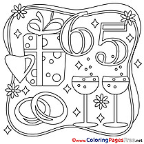 65 Years Wedding free Colouring Page download