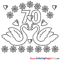 70 Years Wedding  Coloring Pages free for Children