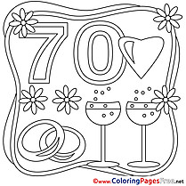 70 Years Wedding free  Coloring Pages for Children