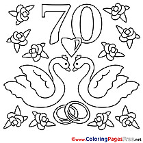 70 Years Wedding Swans Colouring Page printable free
