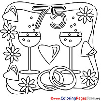 75 Years Wedding printable Coloring Pages