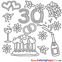 Anniversary 30 Years Wedding Coloring Pages for free