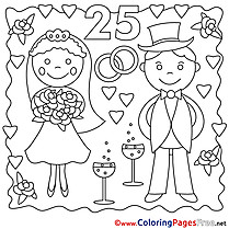 Annniversary 25 Years Wedding printable Colouring Page for Kids