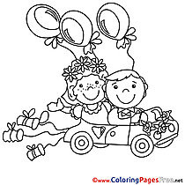 Balloons Car Wedding free Colouring Page download