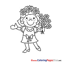 Bouquet Bride download printable Coloring Pages
