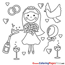 Bouquet Bride printable Weddding Coloring Sheets