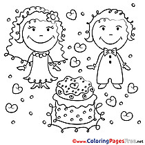 Cake Celebration Wedding Coloring Pages for Children