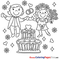 Cake printable Coloring Pages Wedding for free