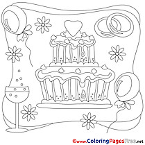 Cake Wedding printable Colouring Page for Kids