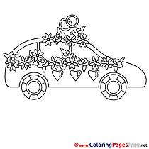 Car Flowers Wedding printable Colouring Page for Kids