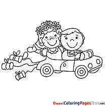 Car Newlyweds Wedding Coloring Pages for free
