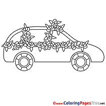 Car Wedding Flowers Colouring Page printable free