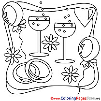 Champagne free Wedding Coloring Page for Kids