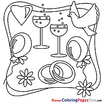 Champagne Wedding Coloring Pages download  for free