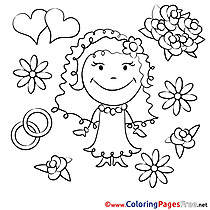 Flowers Bride Wedding free printable Coloring Sheets