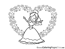 Heart Broom Flowers free Colouring Page download