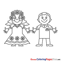 Man Woman Wedding  download Coloring Pages for Kids