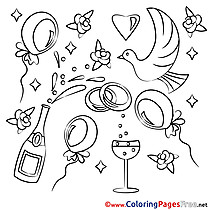 Marriage Pigeons printable Coloring Pages for free