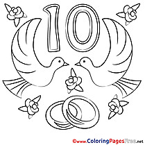 Pigeons 10 Years Anniversary download Coloring Pages