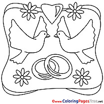 Pigeons Rings Wedding Colouring Page printable free