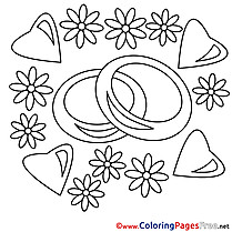 Rings Flowers Wedding  Coloring Pages download for free