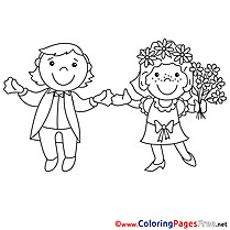 Woman Man Wedding free Coloring Page for Kids