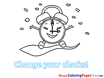 Alarm Clock Winter Coloring Pages for Kids